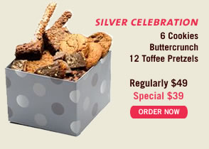 Silver Celebration - 6 Cookies, Buttercrunch, 12 Toffee Pretzels