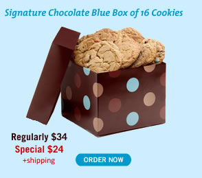 Signature Chocolate Blue Box of 16 Cookies - Special $24
